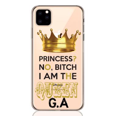 written queen gold letter low