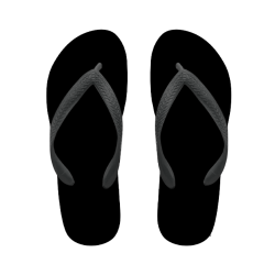 flip flop total black with name