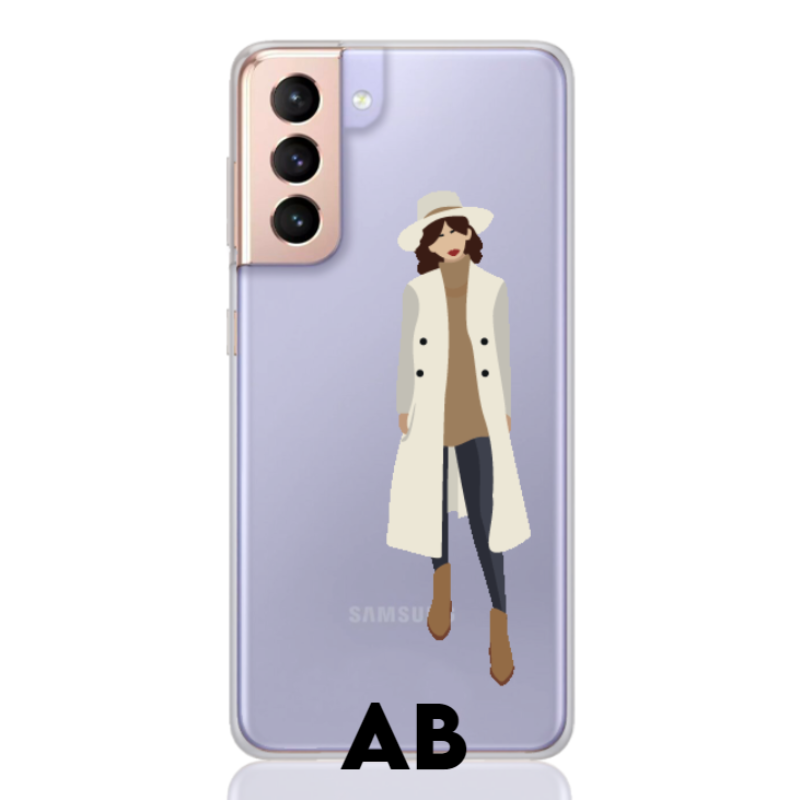 girl in trench letter low