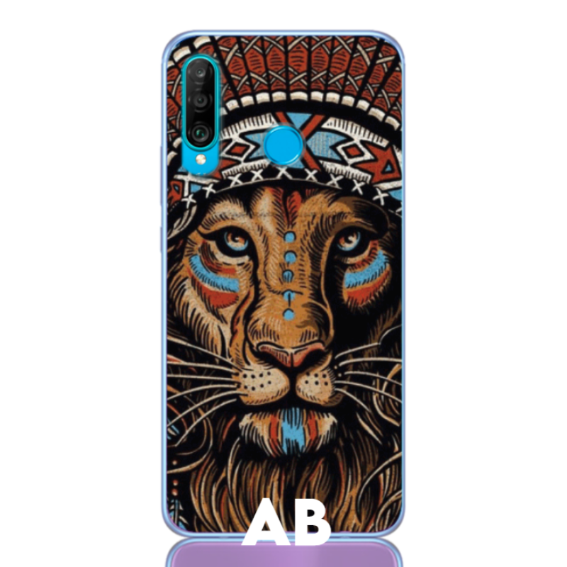 Lion aztec white letter low for huawei