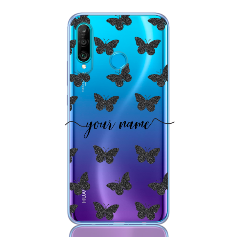 Glitter Butterfly Black Name for huawei