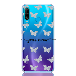 Glitter Butterfly Silver Name