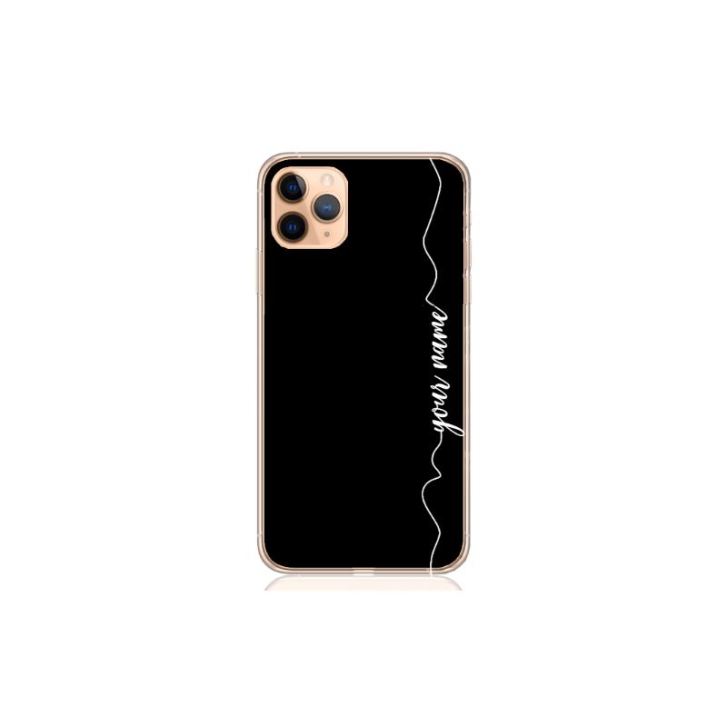 heart white line black case